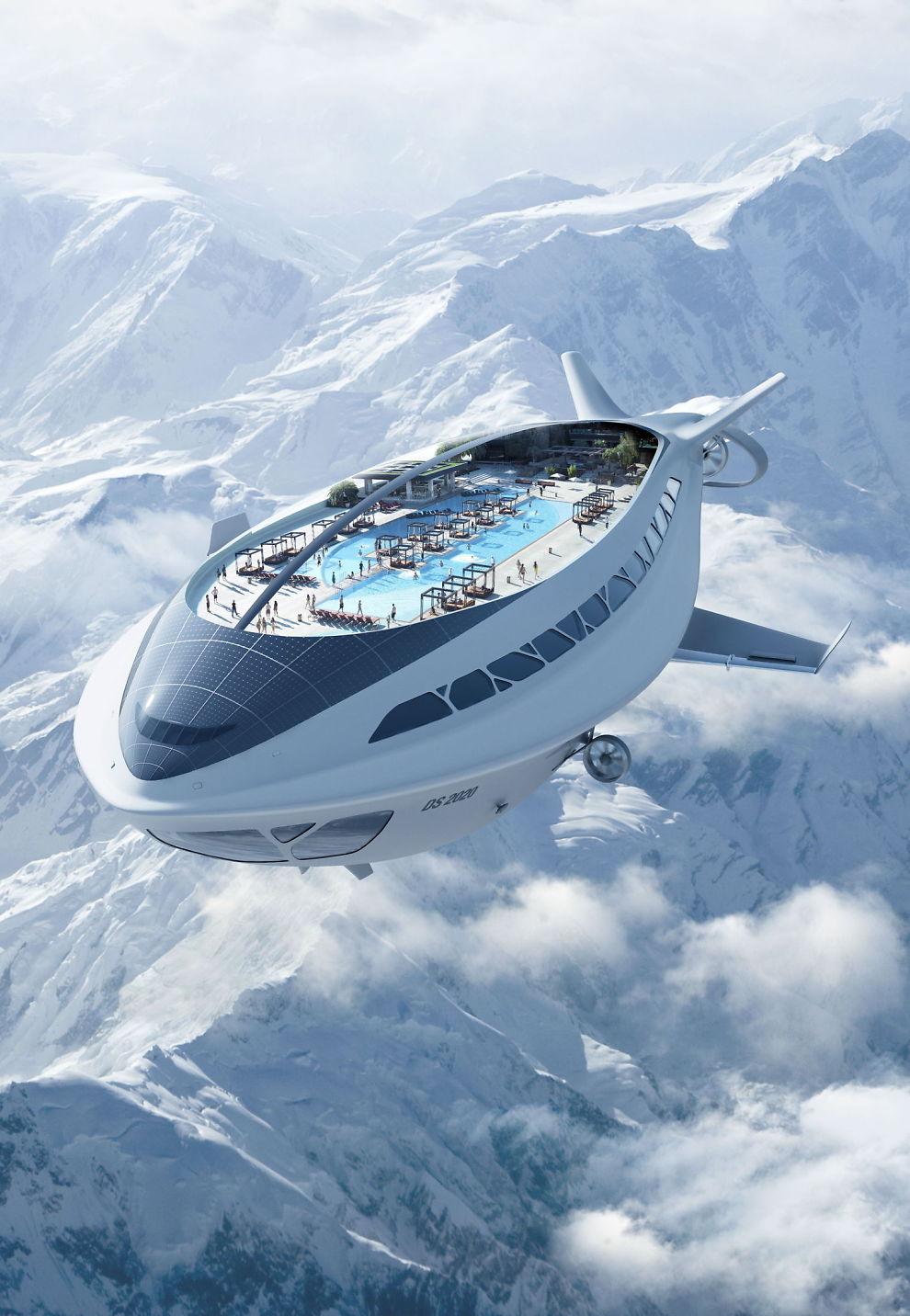 <p>ELEGANT: Så stilfullt kan man – i fremtiden – muligens seile over Alpene, om bord i et luftskip med cruiseskipets alle fasiliteter.<br/></p><p><i><br clear=