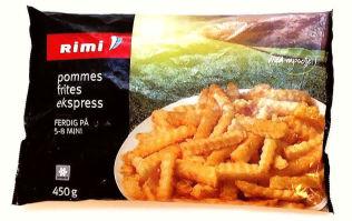 <p><b>Pommes Frites Express * (Rimi)</b></p><p><b>Akrylamid: 168 mikrogram/kg</b></p><p>*) Tilberedt etter anvisning på pakken før sendt til analyse.</p>
