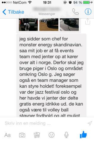 <p>STARTEN AV MELDING: VG har fått tilgang til starten av meldingen mannen har sendt til jentene i denne saken. Foto: PRIVAT<br/></p>
