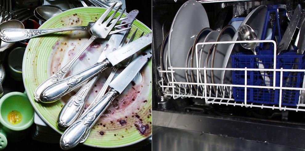 RETT I MASKINEN: Lar du være å skylle sparer du både strøm, krefter og får en renere oppvask.