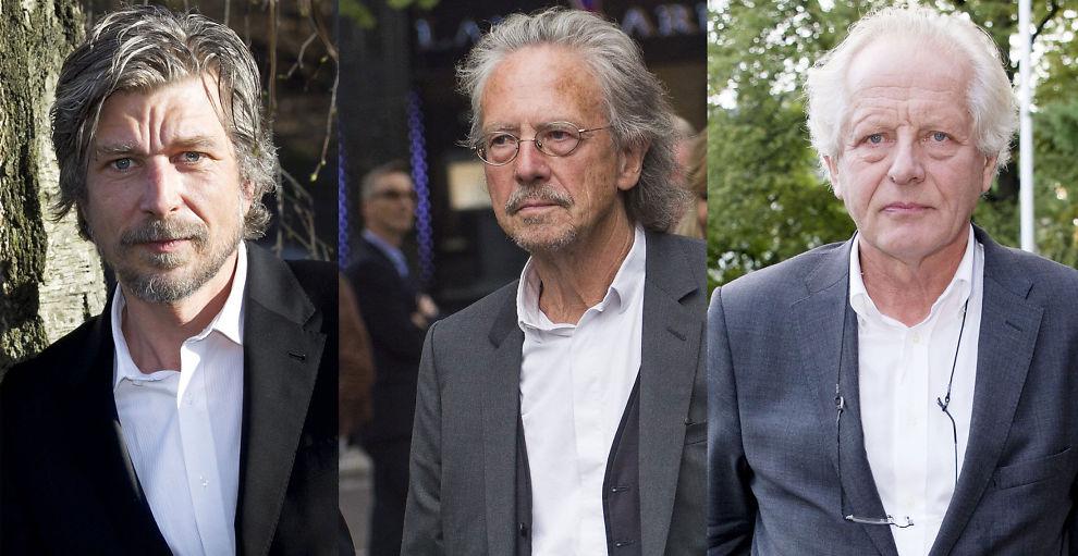 <p>MOTPOLER: Mens Karl Ove Knausgaard (t.v.) hyller den omstridte Ibsenpris-vinneren Peter Handke (i midten), er William Nygaard (t.h.) sterk motsander av den østerrikske forfatteren.<br/></p>