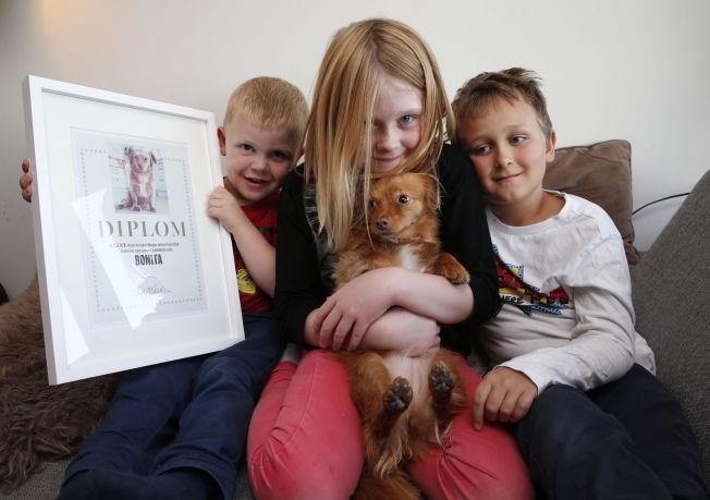 <p>FIKK DIPLOM: Bonital vant innledende runde i VGs kåring av Norges søteste hund. Vilmer (4), Tiril (9) og Sebastian (7) syns uansett hun er verdens beste.<br/></p>