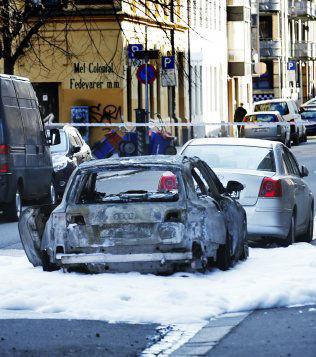 <p>UTBRENT: Her er en av bilene som politiet mener ranerne brukte i forbindelse med ranet.<br/></p>