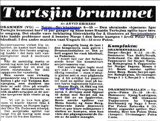 <p>VG 3. NOVEMBER 1979: Slik ble Hanne Heghs landslagsdebut omtalt i VG for 35 år siden.<br/></p>