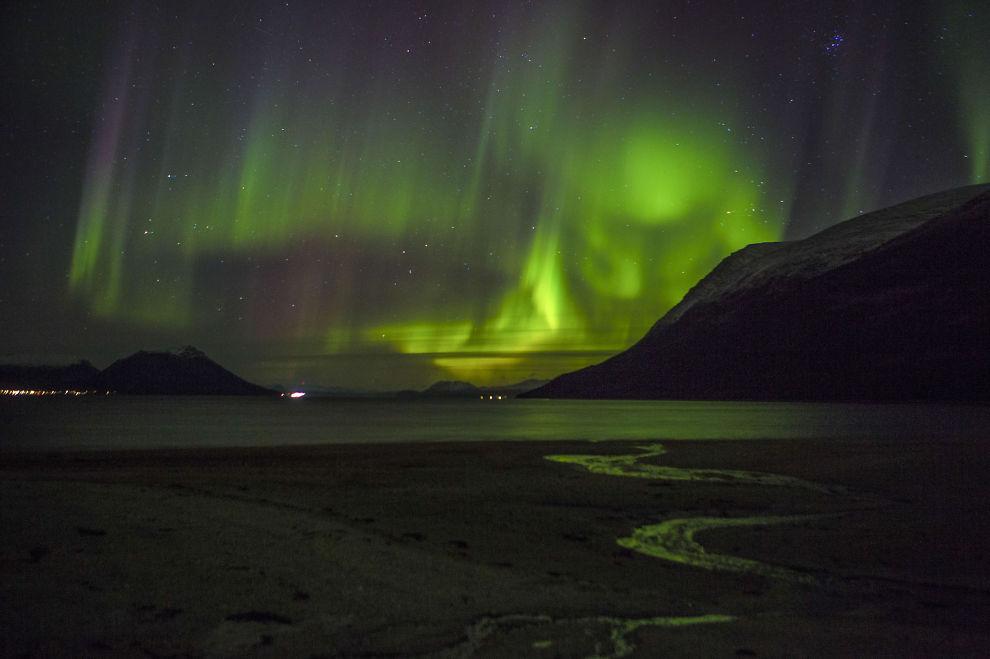 SPEKTAKULÆRT: Solflekker er kaldere og mørkere områder på solas overflate som fører til kraftige eksplosjoner på overflaten. Det gir kraftigere nordlys (Aurora borealis), som her på Snarbybukta utenfor Tromsø, for få dager siden.