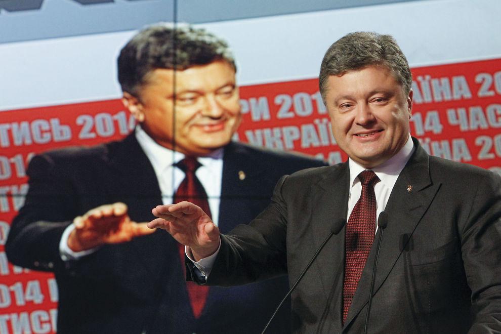 <p>VALGVINNER: Ukrainas president Petro Porosjenko på en pressekonferanse i Kiev 26. oktober.<br/></p>