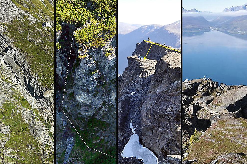 <p>HØYRISIKO: Disse fire fjellene er under konstant overvåking, fordi de utgjør en høy risiko ved et eventuelt ras. Fra venstre «Åknes», «Hegguraksla», «Mannen» og «Nordnesfjellet». De tre første ligger i Møre og Romsdal, mens «Nordnesfjellet» ligger i Troms.<br/></p>