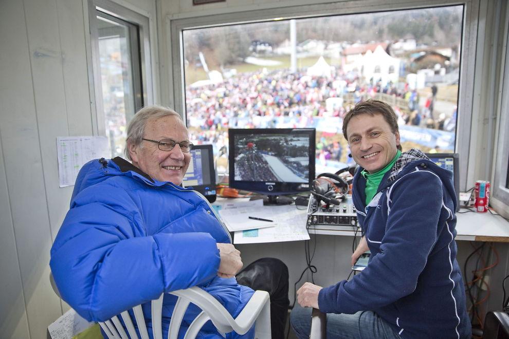 <p>NRK-PAR: Arne Scheie (t.v.) sluttet som kommentator i NRK i mars etter 42 år. OL-vinner Espen Bredesen fortsetter som ekspertkommentator, men etter kommende vinter er det trolig slutt.</p>