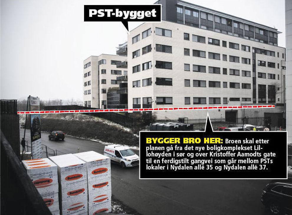 <p>INGEN BRO I SIKTE: Over denne veien i Nydalen i Oslo skulle gangbroen gått, fra PSTs lokaler til det nybygde boligkomplekset Lillohøyden. Foto: TERJE BRINGEDAL/VG<br/></p><p/>