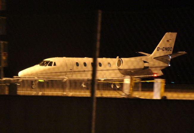 PRIVATFLY: Dette er flyet som fraktet Martin Ødegaard fra Madrid til Rygge i kveld.