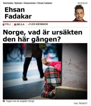 REAGERER: Kommentator Ehsan Fadakar i svenske Aftonbladet påpeker at sist gang han reagerte på på Frp, fikk han beskjed om at han ikke forstod partiet. Nå spør han hva unnskyldningen er denne gangen.