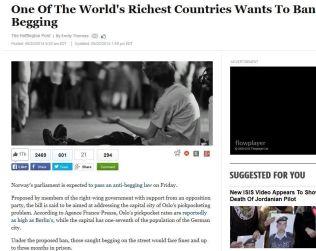 RIKEST: Huffington Posts artikkel er delt over 17000 ganger på Facebook, og er vinklet på at rike Norge vil forby tigging.