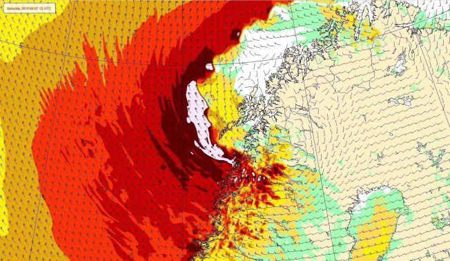 <p>«OLE»: Slik vil ekstremværet prege Nord-Norge i helgen.<br/></p>