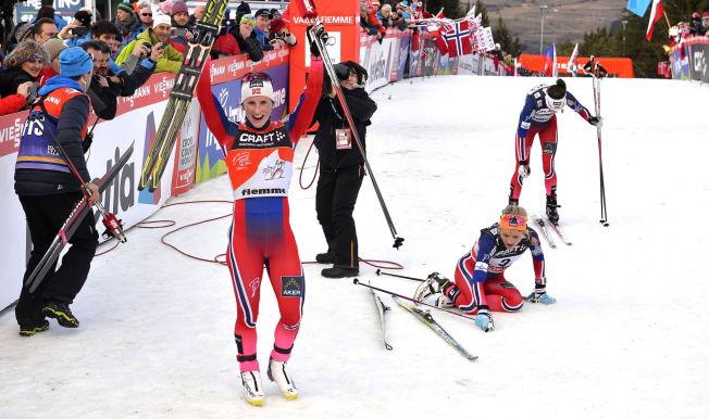 <p>HVOR ER UTLENDINGENE?: Marit Bjørgen var i front for en firedobbel norsk triumf i Tour de Ski. Beste utlending var åtte minutter bak i mål etter sju etapper.<br/></p>