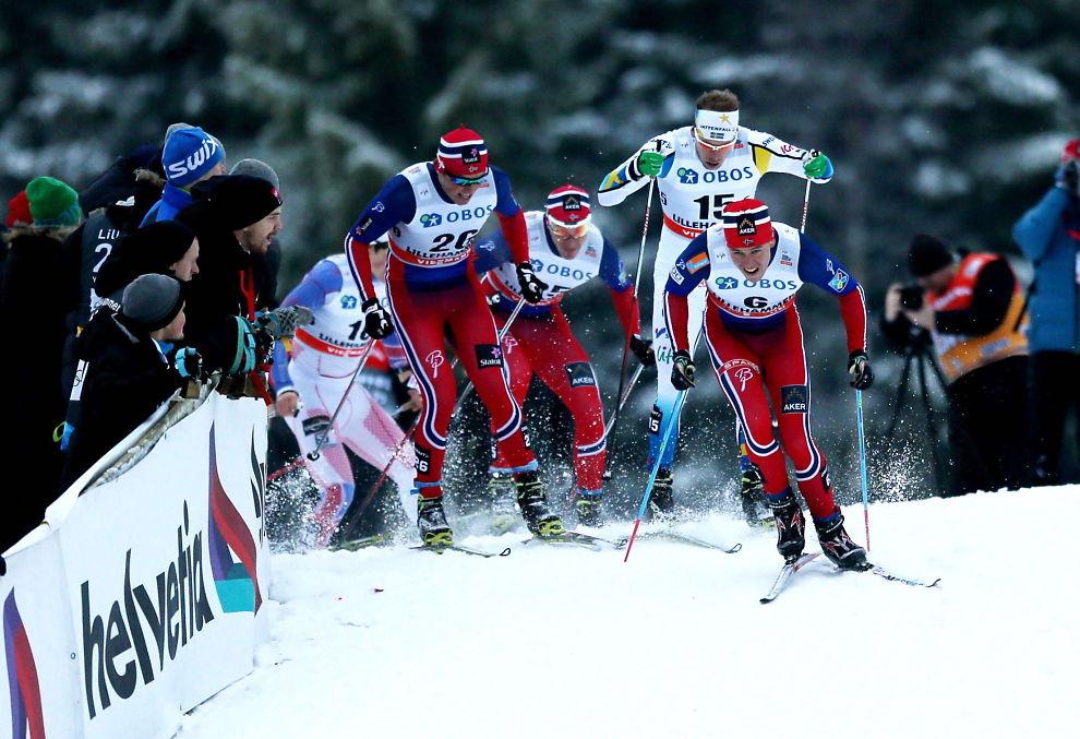 Pål Golberg i sprinten under verdenscuprennet i langrenn på Lillehammer. Foto: Geir Olsen, VG