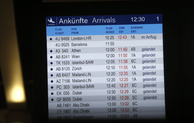 <p>INGEN STATUS: Ankomsttavlen på flyplassen i Düsseldorf viser ingen status på flight nummer 4U9525.<br/></p>