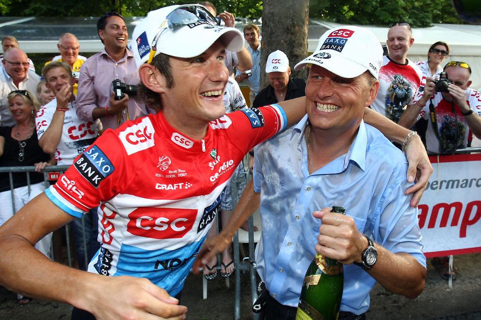 <p>DOPINGKULTUR: Bjarne Riis sammen med Frank Schleck i 2008. Schleck testet positivt i 2012.<br/></p>
