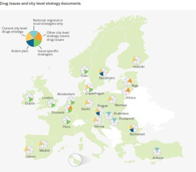 <p>INGEN FELLES PLAN: Dette Europa-kartet viser hvilke hovedsteder som har en helhetlig narkotikapolitikk, ifølge EMCDDA. Oslo scorer kun på det spesifikke arbeidet mot en åpen russcene.</p>