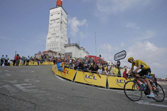 <p>VANT: Chris Froome på vei mot en overbevisende seier på Mont Ventoux i 2013 på den lengste etappen under Tourens 100-årsjubileum.</p>