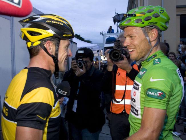 <p>LYSTIG LAG: Thor Hushovd (til høyre) og Lance Armstrong etter førstnevntes suverene seier i Oslo Grand Prix i 2009.<br/></p>