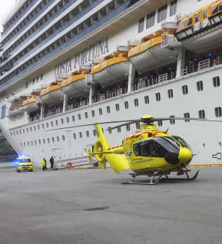& lt; p & gt; STABLE: Air ambulance fetching woman who has v & # xE6, rt subjected to a violent episode and then fell overboard from an Italian cruise ship in Fl & # xE5; m s & # xF8; nday. The condition is serious but stable. & lt; br / & gt; & lt; / p & gt;