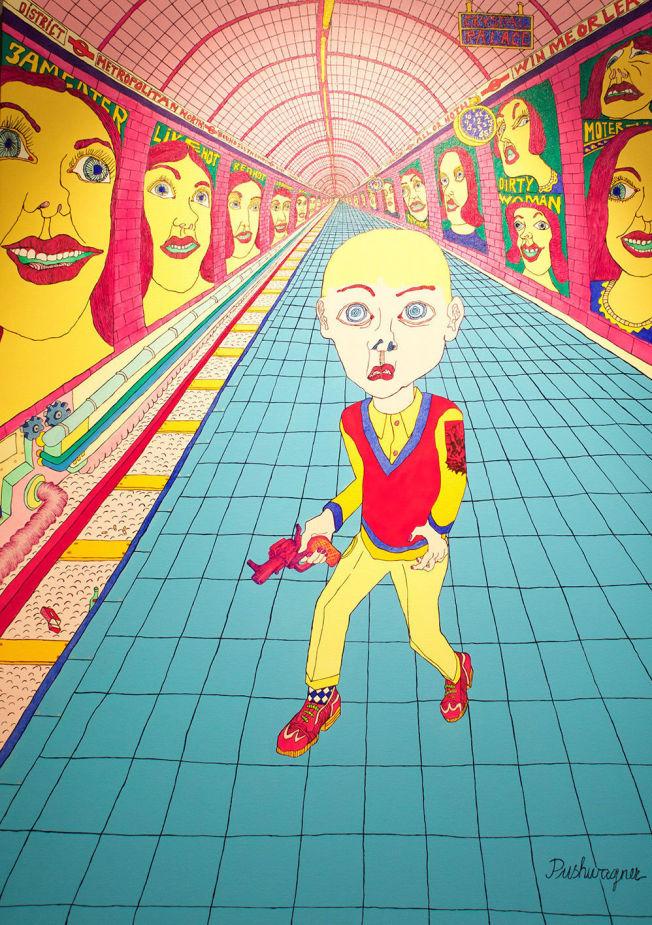 <p>IKKE SOLGT: Pushwagners maleri «Subway Kid» er fortsatt til salgs for 700 000 kroner på Soli Brug Galleri. Foto: SOLI BRUG GALLERI</p>
