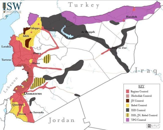 <p>HER ER NUSRAFRONTEN I KONTROLL: De brune områdene rundt Aleppo og Idlib kontrolleres av Nusra-fronten.<br/></p>
