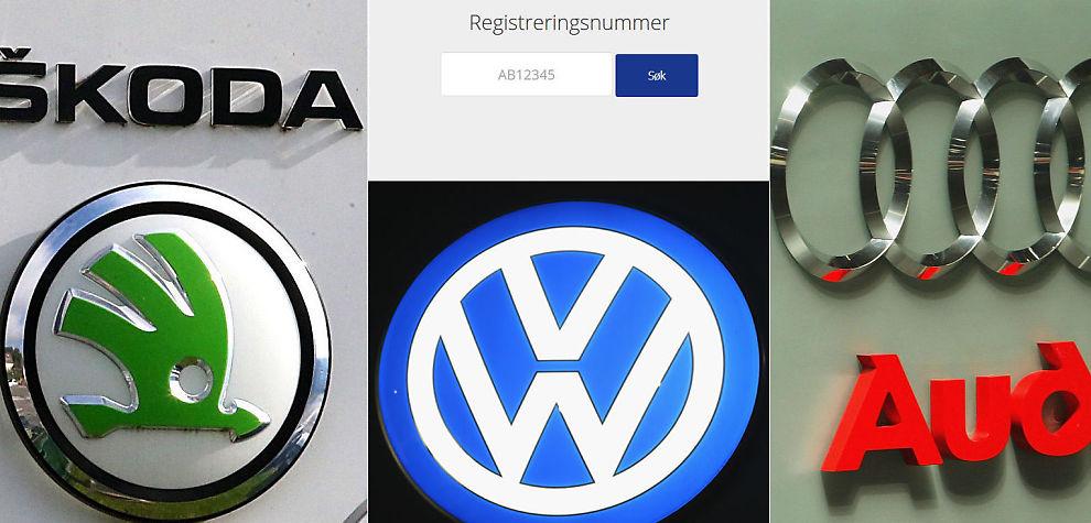 Søk bil registreringsnummer