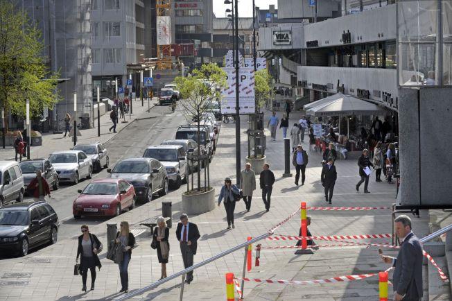 <p>BILISME: Oslo sentrum er preget av mye trafikk med privatbiler, og gatene er ofte kantet med parkerte biler, som her i Vika i sentrum.<br/></p>