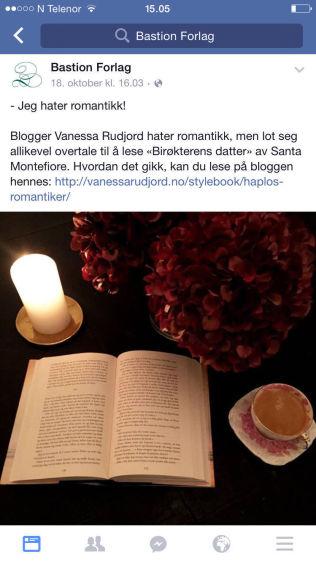 <p>IKKE MERKET: Slik promoterte Bastion Forlag bokomtalen fra Vanessa Rudjord.<br/></p>