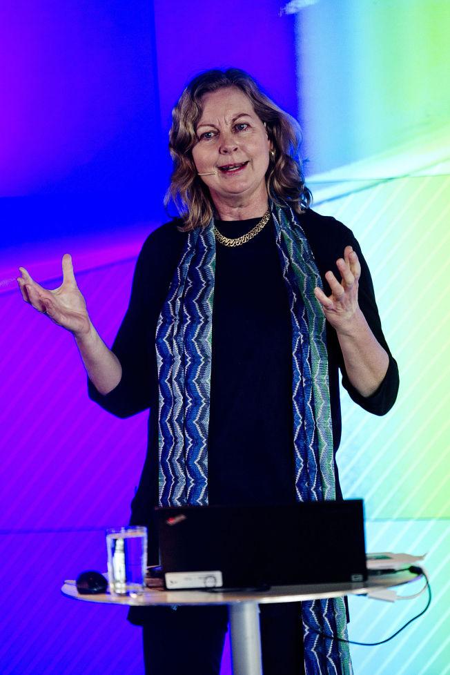 <p>VILLE HA JOBBEN: Berit Svendsen, her fra et foredrag på Fornebu 12. mars i år.</p>
