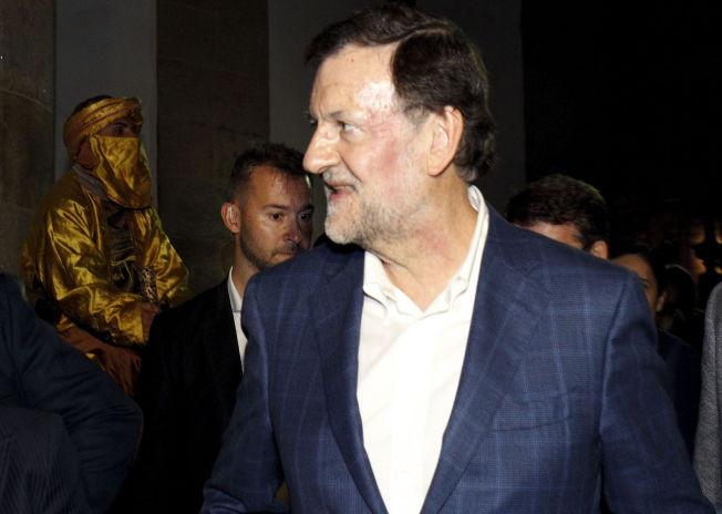 pSMILTE ETTER SLAGET: Her er statsminister Mariano Rajoy avbildet kort tid etter at han ble sltt av en ung mann i Pontevedra. P den venstre siden av ansiktet hans kan man se tydelige rde merker etter det brutale angrepet./p