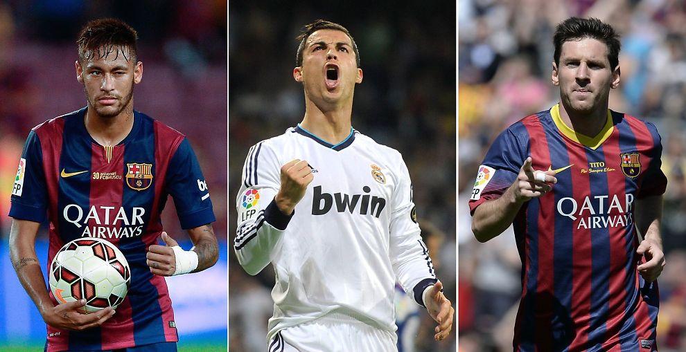<p>HVEM ER BEST? Neymar (fra venstre), Cristiano Ronaldo og Lionel Messi i aksjon for sine klubblag Barcelona og Real Madrid.</p>