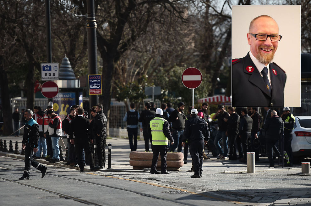 <p>MIDT I TERROREN: Norske Jostein Nielsen (59) og kona Magna Våje Nielsen ble selv rammet da en selvmordsbomber sprengte seg i luften ved Den blå moské i Istanbul tirsdag.</p>