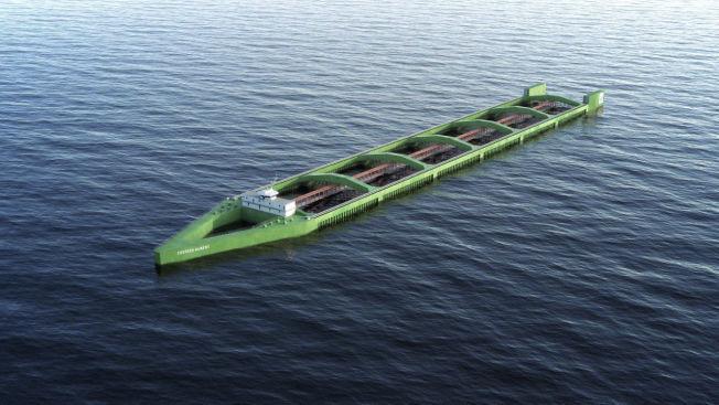 <p>MULIG FREMTIDSLØSNING: Denne modellen av den 430 meter lange havfarmen/båten til Nordlaks skal fylles med seks merder med kapasitet for 10 000 tonn laks. Det kan flytte oppdrett ut av fjordene. Pris: 600-700 millioner kroner. Illustrasjon: Nordlaks.</p>