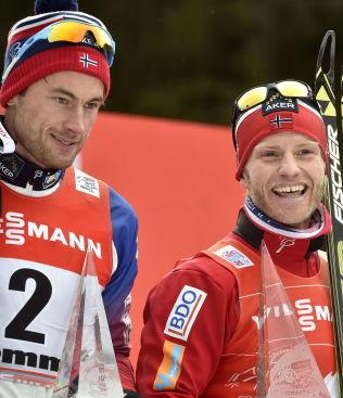 <p>INGEN NY DUELL: Martin Johnsrud Sundby (t.h.) sikret seieren foran Petter Northug (t.v.) i Tour de Ski. Northug får ingen revansje i NM.<br/></p>