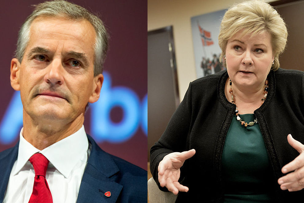 <p>UENIGE: Ap-leder Jonas Gahr Støre (t.v.) og statsminister Erna Solberg har nokså ulike meninger om den norske arbeidsleidigheten.</p>