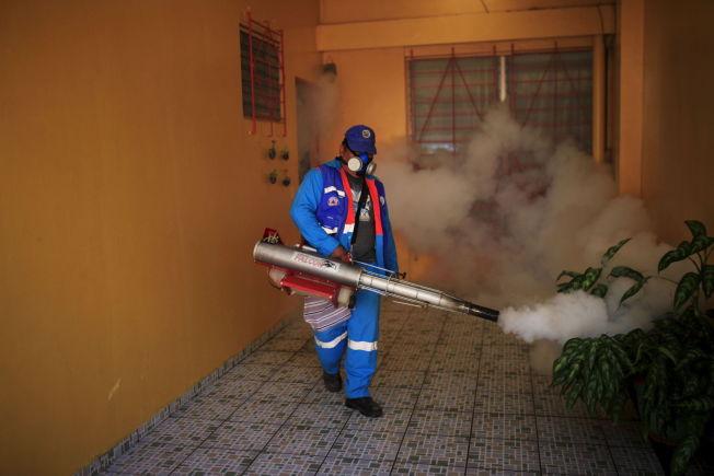 <p>Flere steder sprøytes det for å drepe myggen som bærer viruset. Dette bildet er av en arbeider i El Salvador. REUTERS/Jose Cabezas</p>