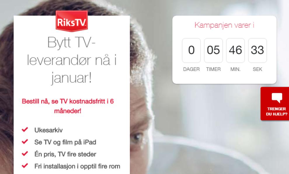 <p/><p>TILFELDIG?: Kampanjen til RiksTV går ut samtidig som Canal Digital-kundene risikerer å miste TVNorge-kanalene. Skjermdump søndag 31. januar klokken 18.14.</p>