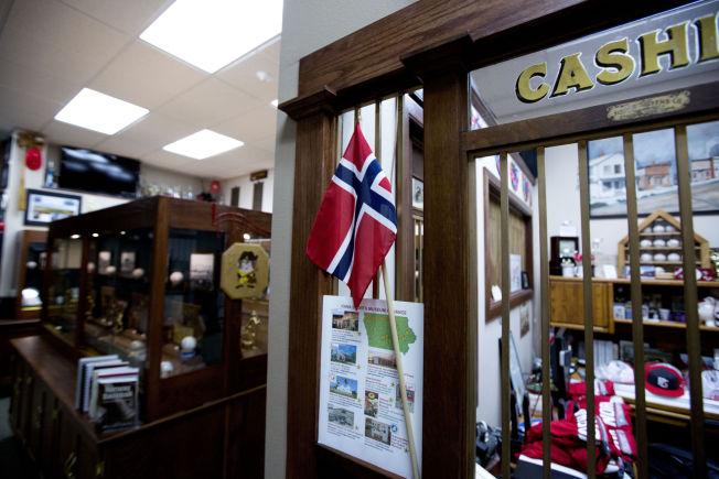 <p>NORSK FLAGG: Innbyggerne i Norway har ikke glemt opphavet til byen. På baseballmuseet henger et norsk flagg.</p>