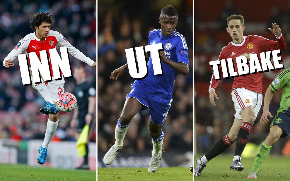 OVERGANGER: Elneny (t.v.) har ankommet London og Arsenal, mens Ramires har forlatt samme by og klubben Chelsea. Til høyre har Adnan Januzaj blitt hentet tilbake til Manchester United etter et halvt års låneopphold i tyske Borussia Dormund.