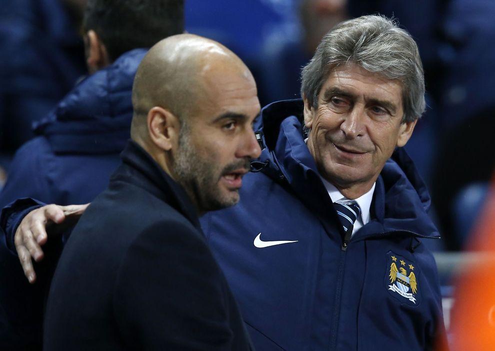 <p>ÉN UT, ÉN INN: Manuel Pellegrini (t.h.) får ikke fortsette som Manchester City-manager etter denne sesongen. Pep Guardiola (t.v.) tar over stafettpinnen.</p>