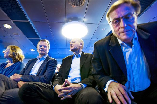 <p>GUTTEGJENG: Under presentasjonen av Sigve Brekke som ny konsernsjef i Telenor i mai i fjor satte fra venstre daværende styreleder Svein Aaser, daværende konsernsjef Jon Fredrik Baksaas sammen med Brekke og Telenor Norge-sjef Berit Svendsen.</p>