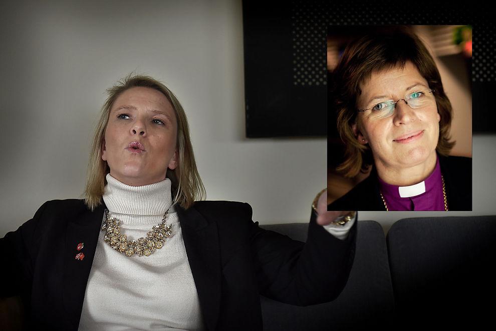 <p>MØTER MOTBØR: Biskopen i Møre, Ingeborg Midttømme (innfelt), har levert et høringssvar i protest mot innvandringsminister Sylvi Listhaugs (Frp) innstrammingstiltak.</p>