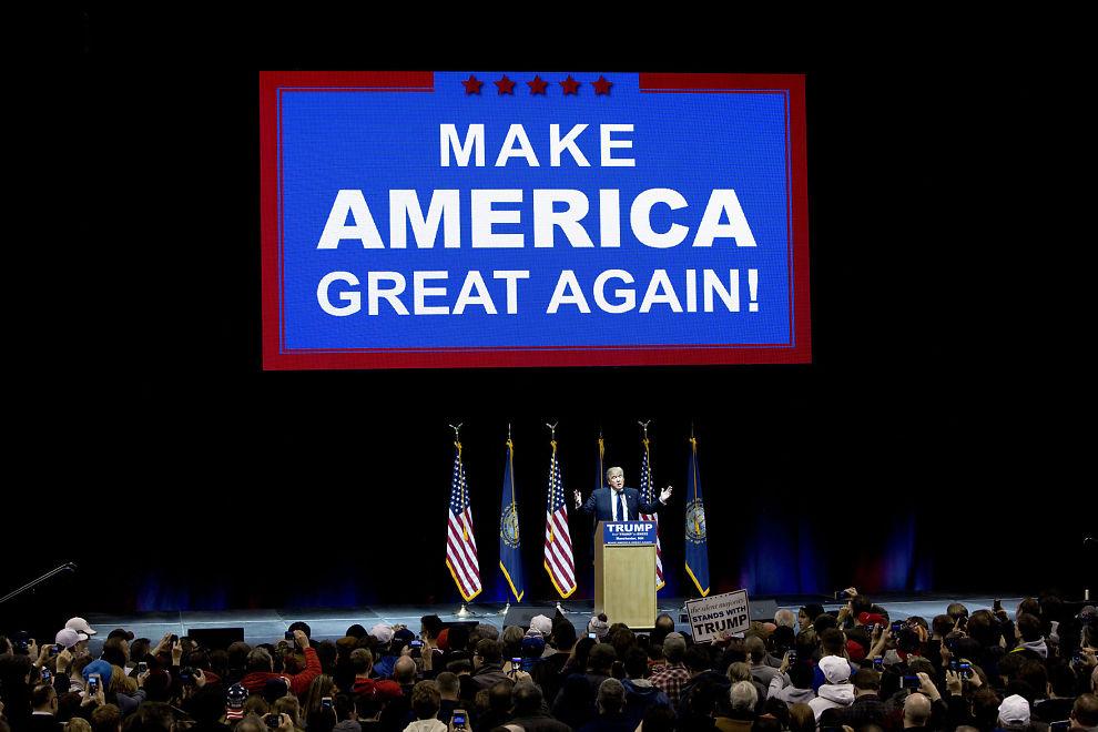<p>Donald Trump ønsker, i likhet med en rekke andre kandidater, å gjøre USA stort igjen. FOTO: THOMAS NILSSON/VG</p>