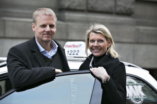 <p>UBER OG UT?: Oslo Taxi-sjef Bjørn Rebne og konserndirektør i DNB, Kjerstin Braathen, lager en felles app som gjør at du slipper å betale i drosjen.</p>