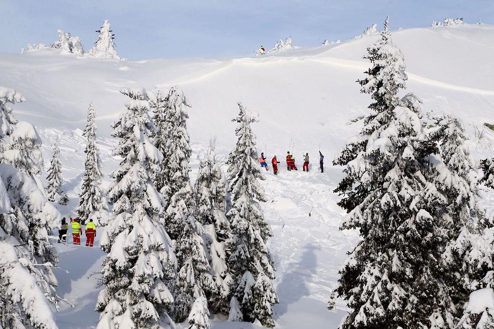 <p>STORT SNØSKRED: Dette bilder viser bruddkanten på raset ved Sjusjøen skisenter. Til venstre i bildet ser man de enorme snømassene som raset dro med seg.</p>