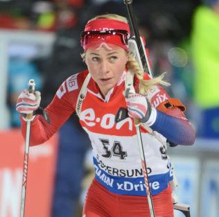 VM-HÅP: Skiskytter Tiril Eckhoff i aksjon på normaldistansen i Östersund.
