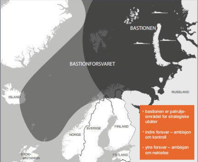 <p>Prinsippskisse av den russiske bastionen og bastionforsvarets utstrekning fra rapporten til regjeringens ekspertutvalg.</p>