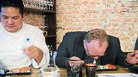 Her spytter fiskeriministeren ut sushi